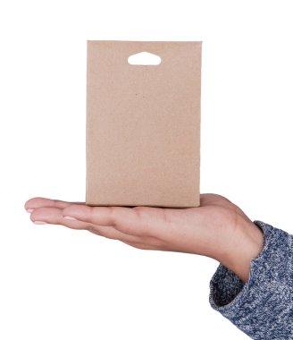 Woman hand holding blank carton box. Mockup for design