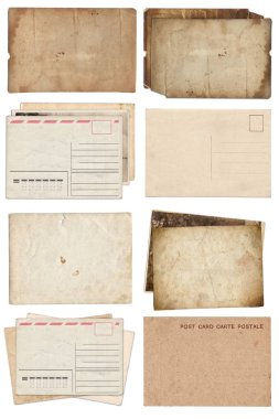 Set of various Old papers and postcards with scratches and stain