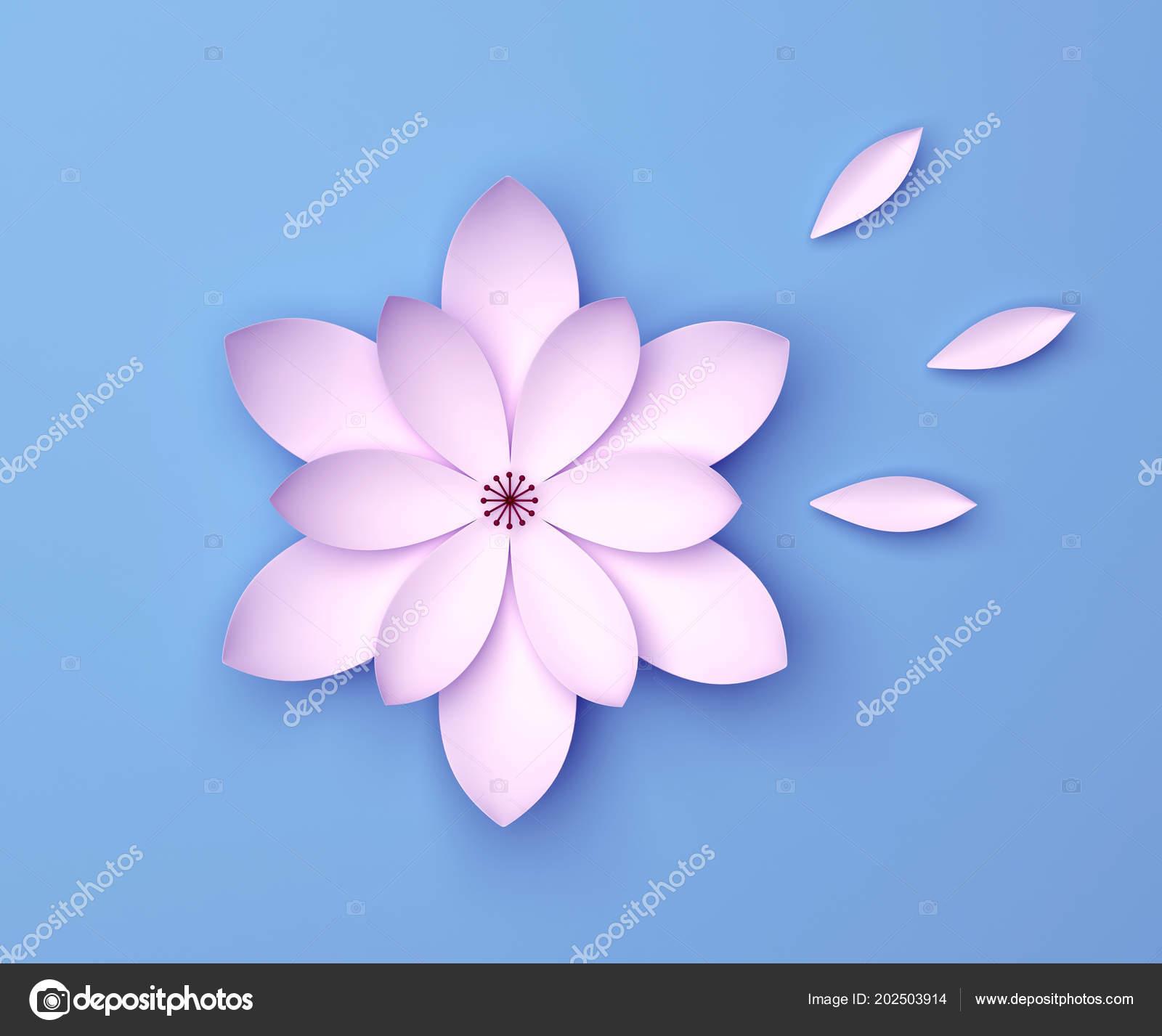 Single color decorative flower on blue background paper origami single color decorative flower on blue background paper origami lily stock photo izmirmasajfo