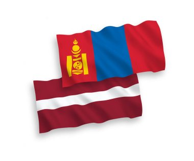 National vector fabric wave flags of Latvia and Mongolia isolated on white background. 1 to 2 proportion.