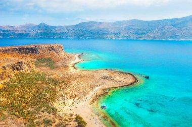 Beautiful sea coast of the Gramvousa island, Crete island, Greece.