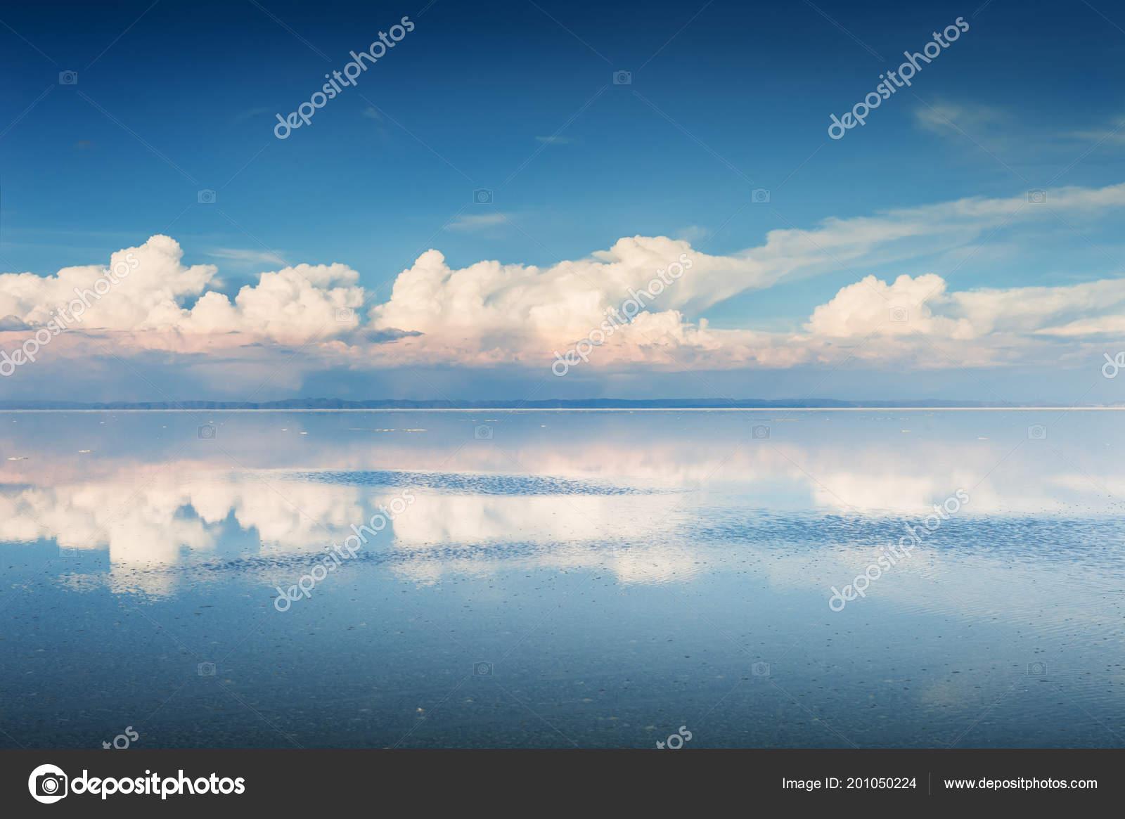 Mirror Surface Salar Uyuni Salt Flat Altiplano Bolivia