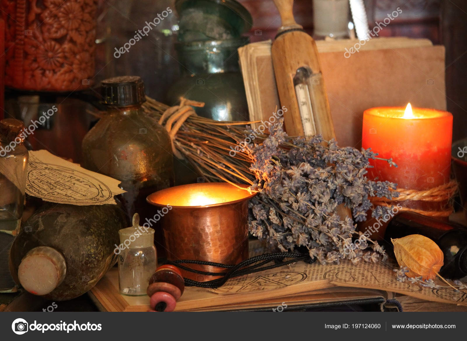 Magic Ritual Antique Magic Book Witchcraft Candle Background — Stock