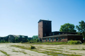 distant view of abandoned factory buildings
