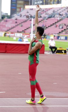 TAMPERE, FINLAND,  July 14:  ROBERTO VILCHES from Mexico wins high jump event on IAAF World U20 Championship Tampere, Finland 14th July, 2018.