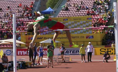 TAMPERE, FINLAND,  July 14:  ROBERTO VILCHES from Mexico and ANTONIOS MERLOS from Greece wins high jump event on IAAF World U20 Championship Tampere, Finland 14th July, 2018.
