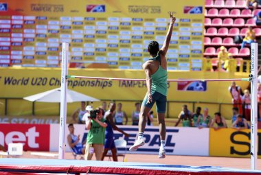 TAMPERE, FINLAND,  July 14: BREYTON POOLE (RSA) win bronze medal in high jump on the IAAF World U20 Championship Tampere, Finland 14th July, 2018.