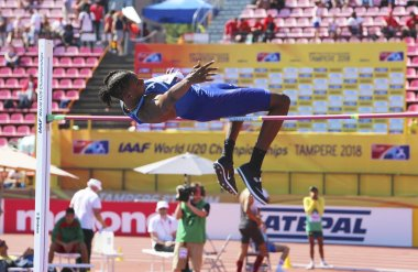 TAMPERE, FINLAND,  July 14: JUVAUGHN BLAKE (USA) win bronze medal in high jump on the IAAF World U20 Championship Tampere, Finland 14th July, 2018.