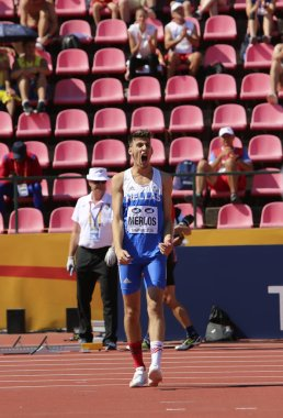 TAMPERE, FINLAND,  July 14: ANTONIOS MERLOS from Greece wins high jump event on IAAF World U20 Championship Tampere, Finland 14th July, 2018