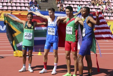 TAMPERE,FINLAND, July 14:ROBERTO VILCHES (MEX), ANTONIOS MERLOS (GRE) - gold, BREYTON POOLE (RSA), JUVAUGHN BLAKE (USA)-bronze in high jump on IAAF World U20 Championship Tampere, Finland 14 July,2018