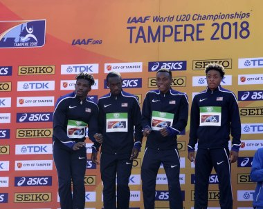 American relay team after 4X400 meters relay in the IAAF World U20 Championship in Tampere, Finland 15th July, 2018.