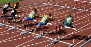 TAMPERE, FINLAND, July 11: OSCAR SMITH (BAH), XIN XU (MAC), FILIP JAKOB DEMSAR (SLO), OLEKSIY OVCHARENKO (UKR), SILUSAPHO DINGISWAYO (RSA),  in 110 metrs hurdles Heats on the IAAF World U20 Championship in Tampere, Finland 11th July, 2018.