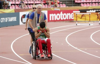 TAMPERE, FINLAND,  July 12: Sergio Armando ESQUIVEL from Mexico was injured on the 400 meters distance in the IAAF World U20 Championships in Tampere, Finland on July 12, 2018.