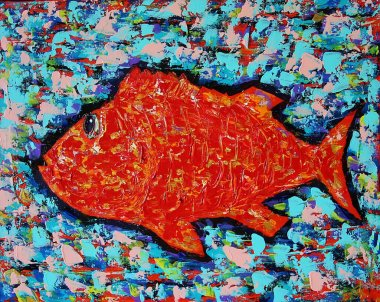 "Картина, постер, плакат, фотообои ""смешная красная рыба абстракция все"", артикул 381658436"