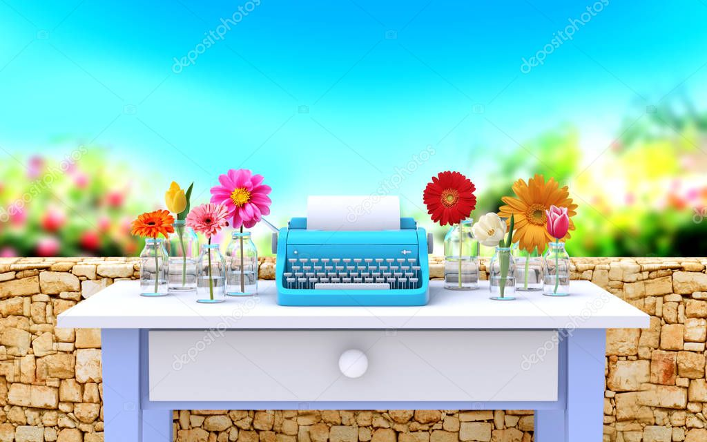 vintage typewriter and flowers