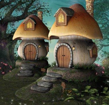 Elf houses in the shape of mushrooms  3D illustration