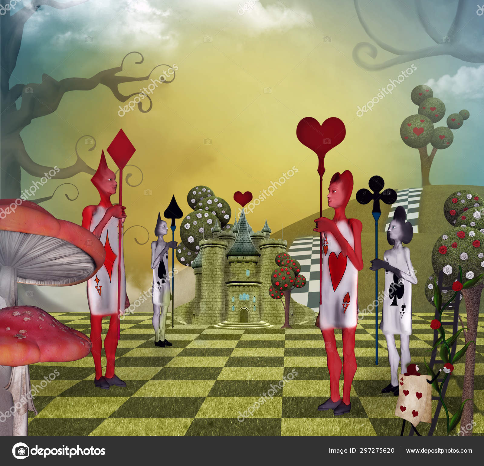 Landscape Inspired Alice Wonderland Card Guards Queen Hearts