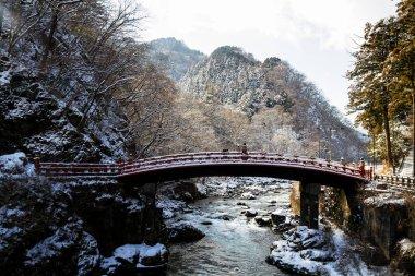 Red sacred bridge Shinkyo in Nikko, Japan