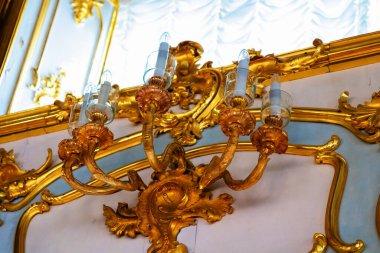 SAINT PETERSBURG, MOSCOW - RUSSIA - APRIL 28, 2019: Interior of Peter palace in Peterhof, Saint Petersburg, Russia