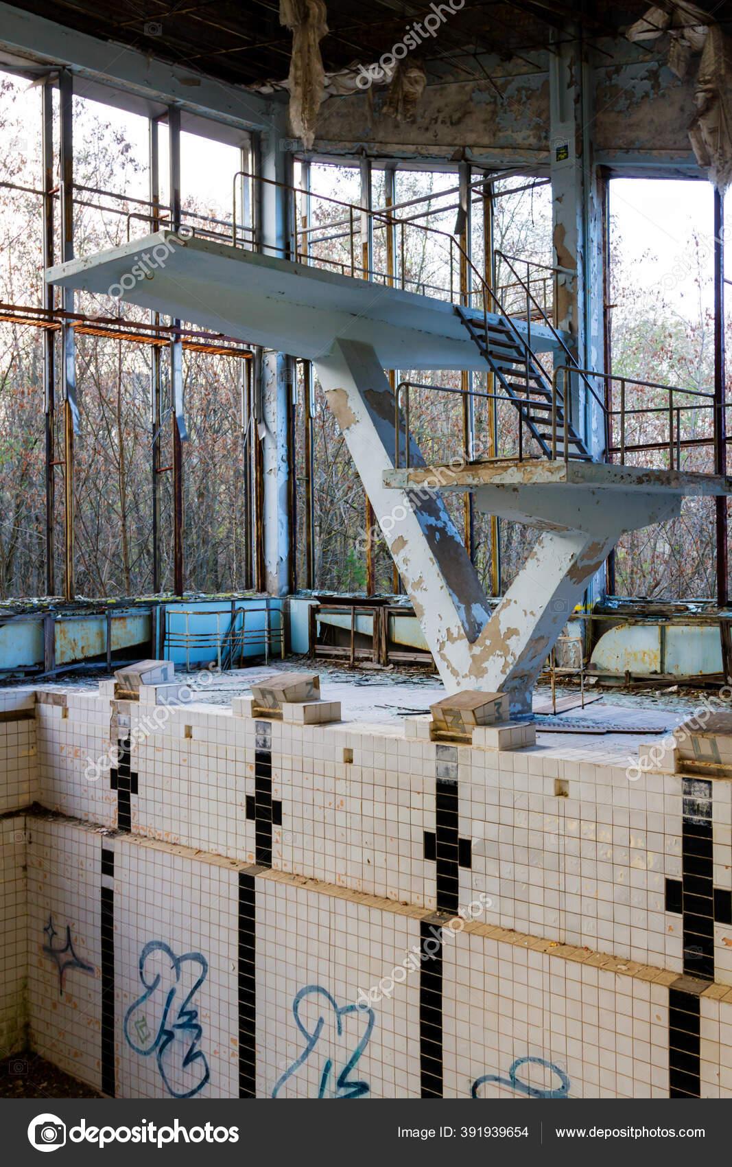 Abandoned Swimming Pool Pripyat Chernobyl Exclusion Zone Ukraine Stock Photo C Kefirm 391939654