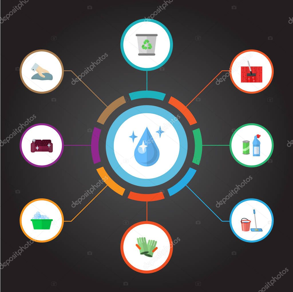 Set of hygiene icons flat style symbols with trash bin, cleaning gloves, housekeeping and other icons for your web mobile app logo design.