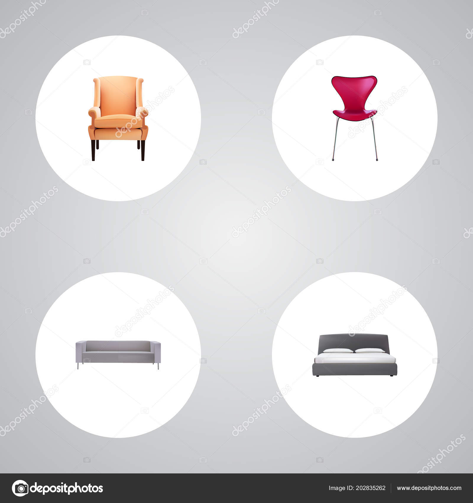 Amazing Set Of Design Realistic Symbols With Seating Sofa Double Cjindustries Chair Design For Home Cjindustriesco