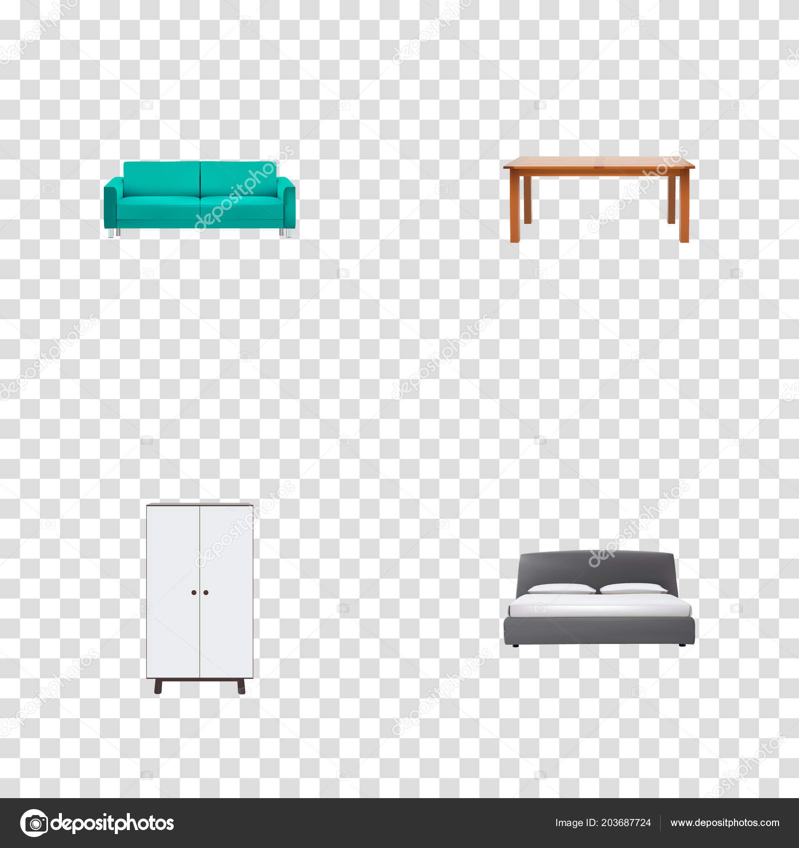 Set Of Furniture Realistic Symbols With Furniture Double Bed Couch