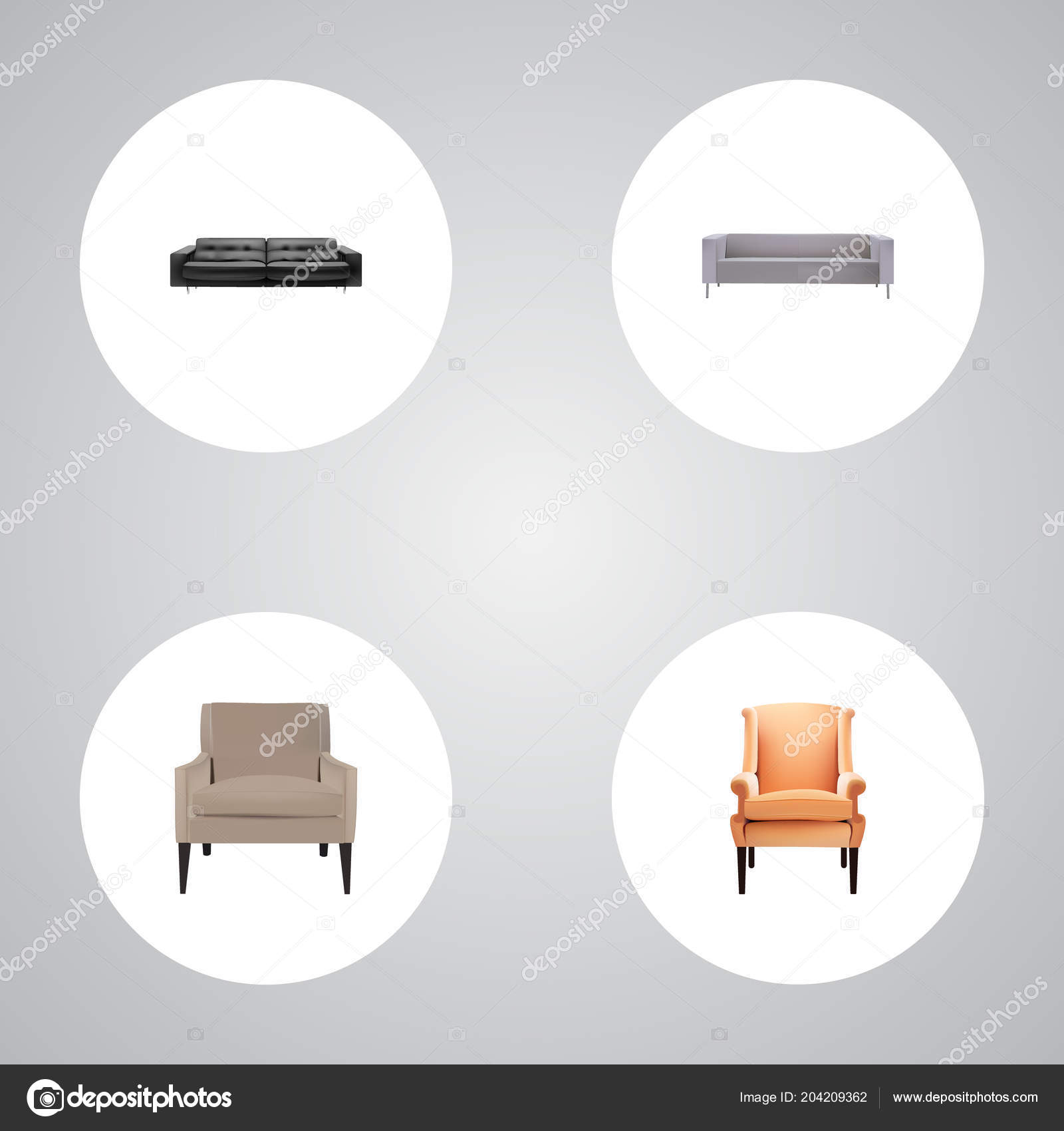 Set Of Furniture Realistic Symbols With Lounge Sofa Chair And