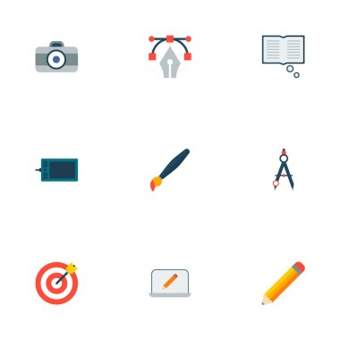 Set of original icons flat style symbols with pencil, dslr camera, paintbrush and other icons for your web mobile app logo design.