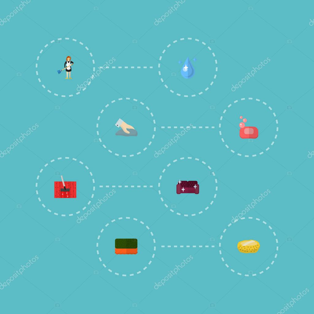 Set of cleaning icons flat style symbols with housekeeping, sponge, wisp and other icons for your web mobile app logo design.