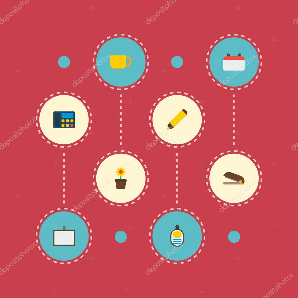 Set of bureau icons flat style symbols with calendar, marker, stapler and other icons for your web mobile app logo design.