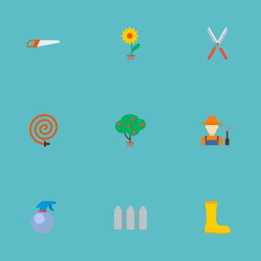 Set of agriculture icons flat style symbols with plant pot, gardener, atomizer and other icons for your web mobile app logo design.