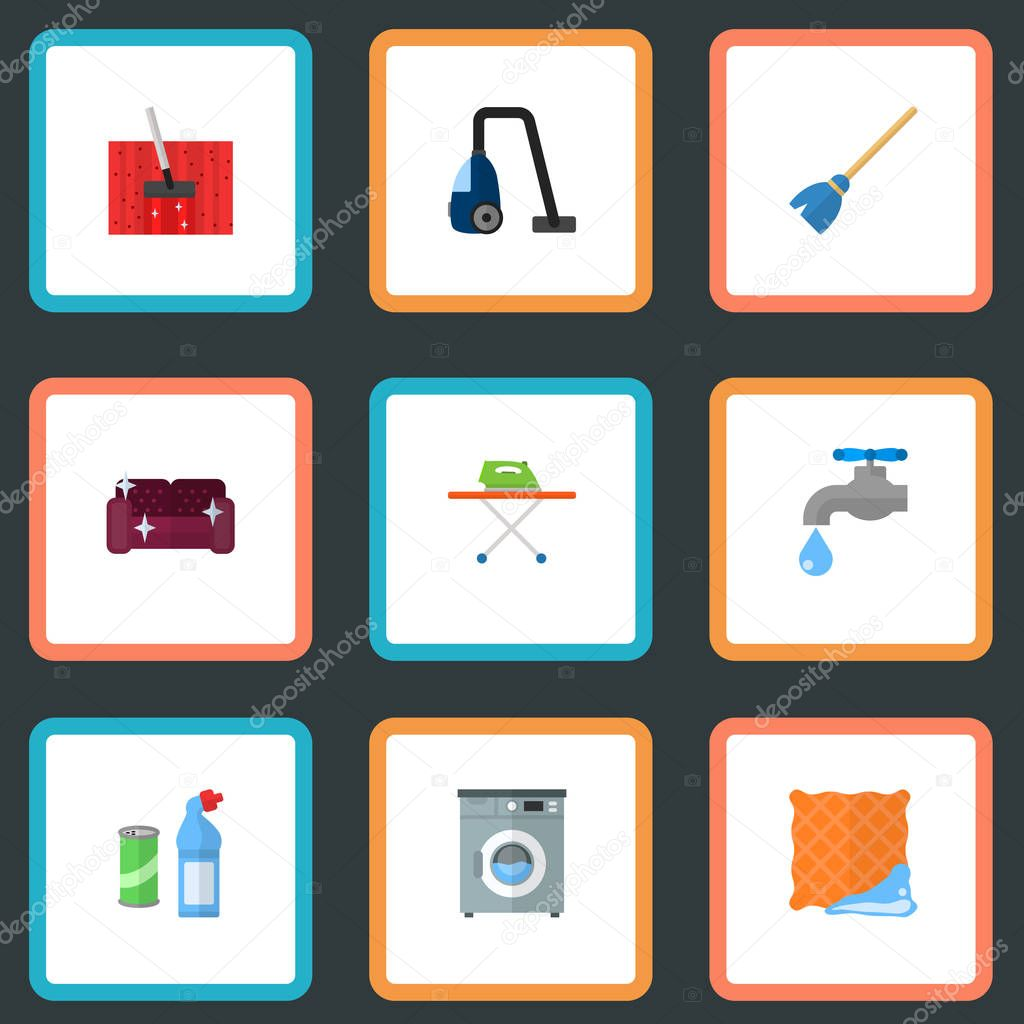 Set of cleaning icons flat style symbols with ironing, vacuum cleaner, furniture and other icons for your web mobile app logo design.