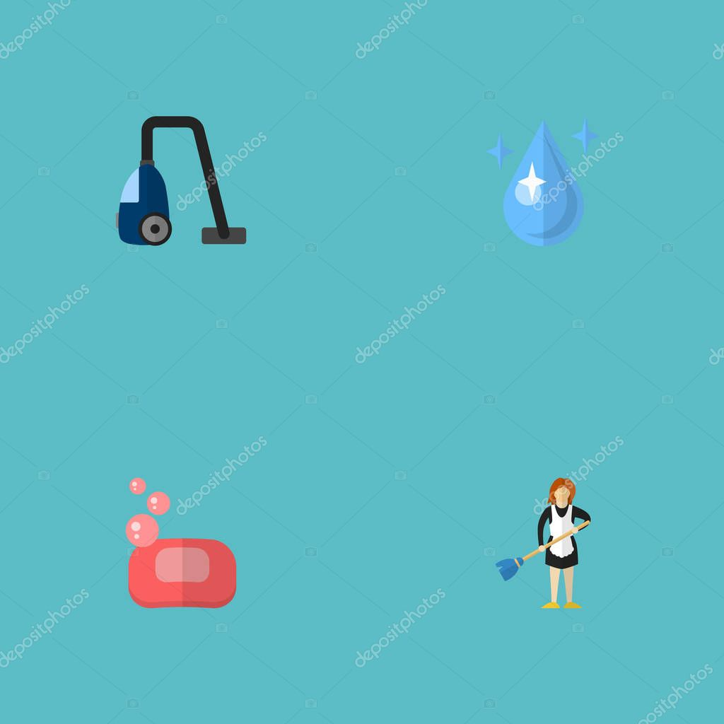Set of cleaning icons flat style symbols with soap, housemaid, drop water and other icons for your web mobile app logo design.