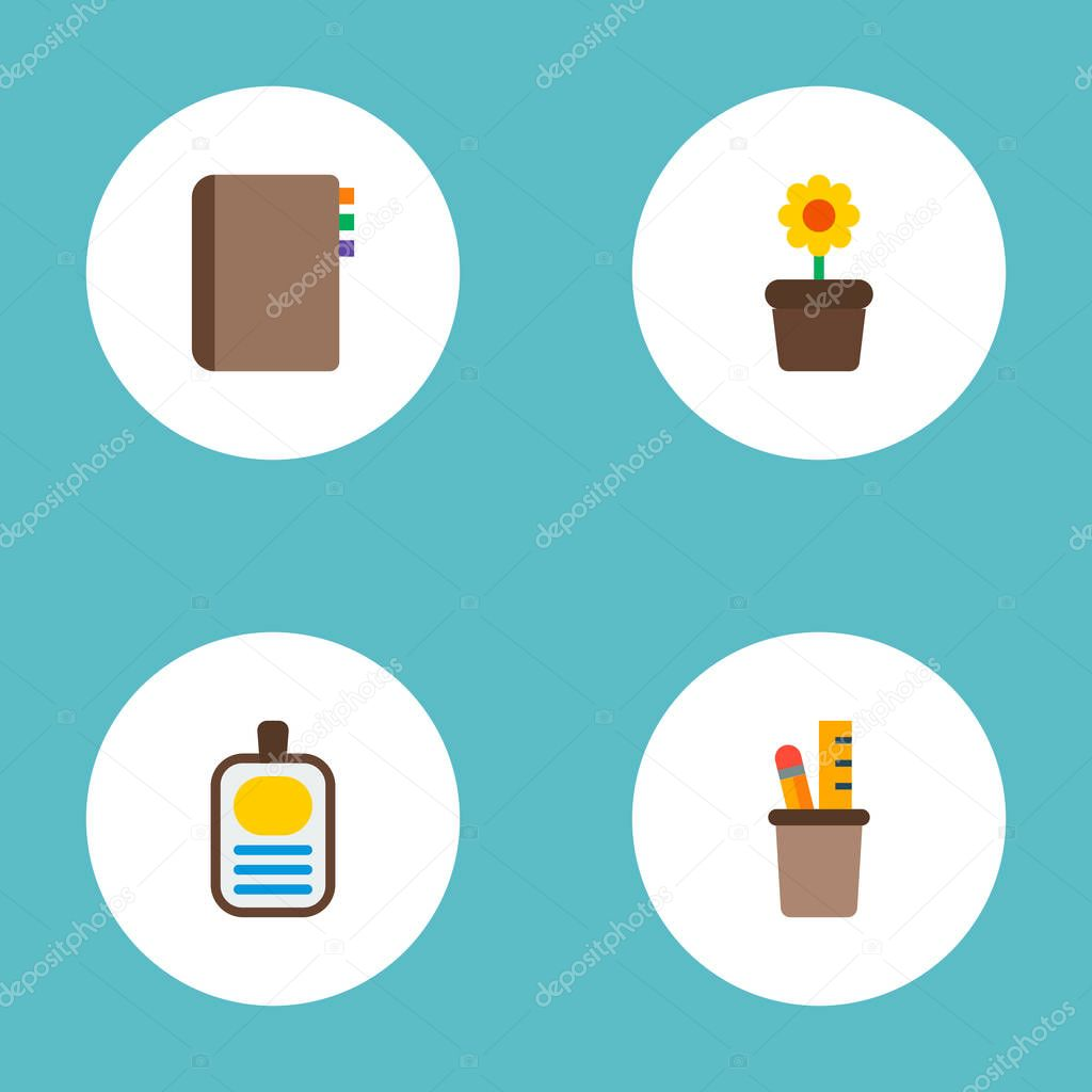 Set of bureau icons flat style symbols with flowerpot, pencil stand, id badge icons for your web mobile app logo design.