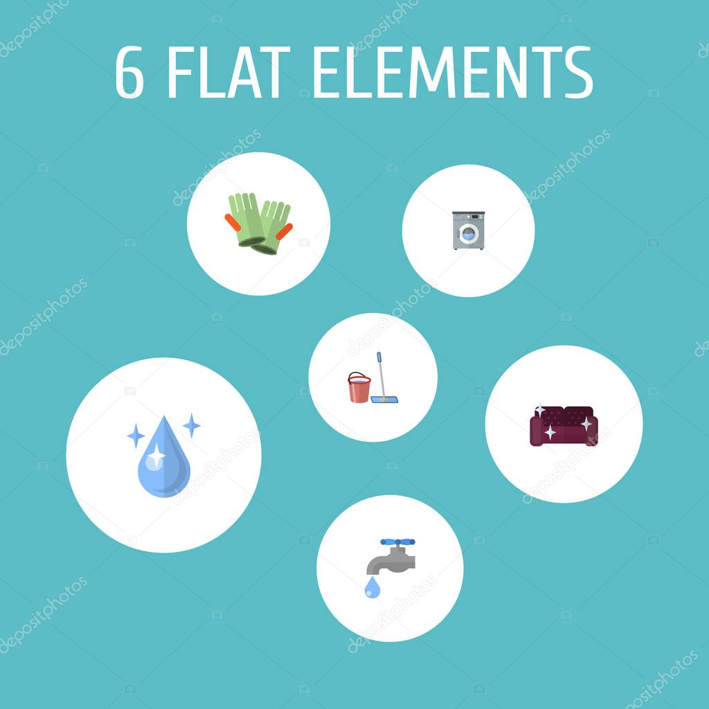 Set of hygiene icons flat style symbols with washing machine, cleaning gloves, drop water and other icons for your web mobile app logo design.