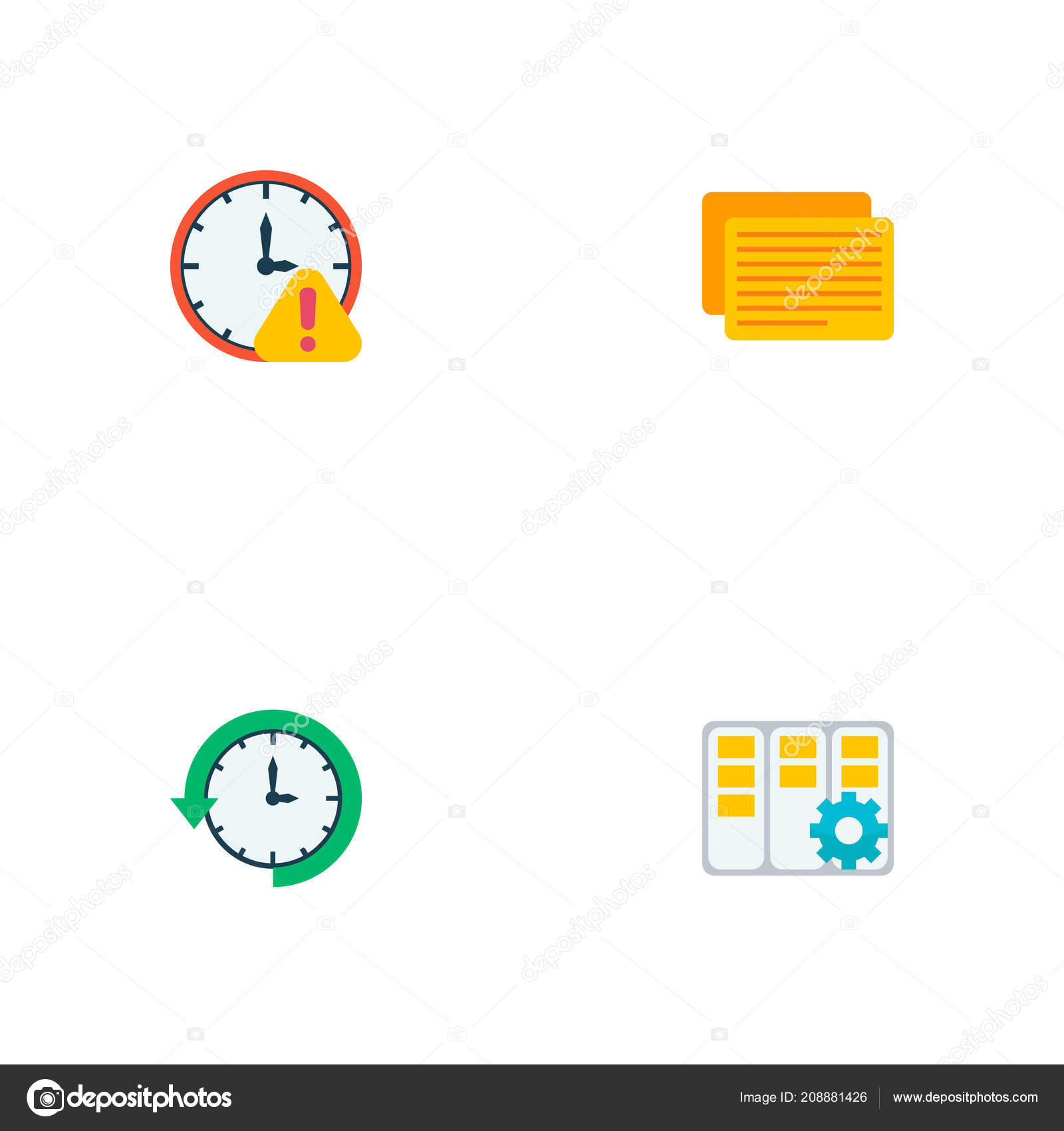 Set Of Task Manager Icons Flat Style Symbols With Log Time Task