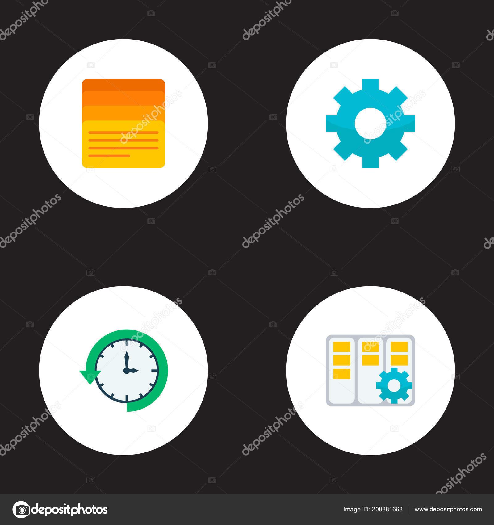 Set Of Management Icons Flat Style Symbols With Task Manager Log