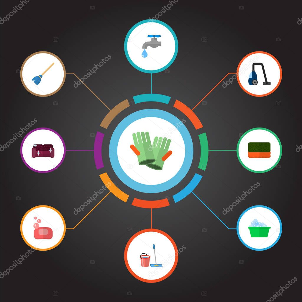 Set of cleaning icons flat style symbols with soap, sponge, vacuum cleaner and other icons for your web mobile app logo design.