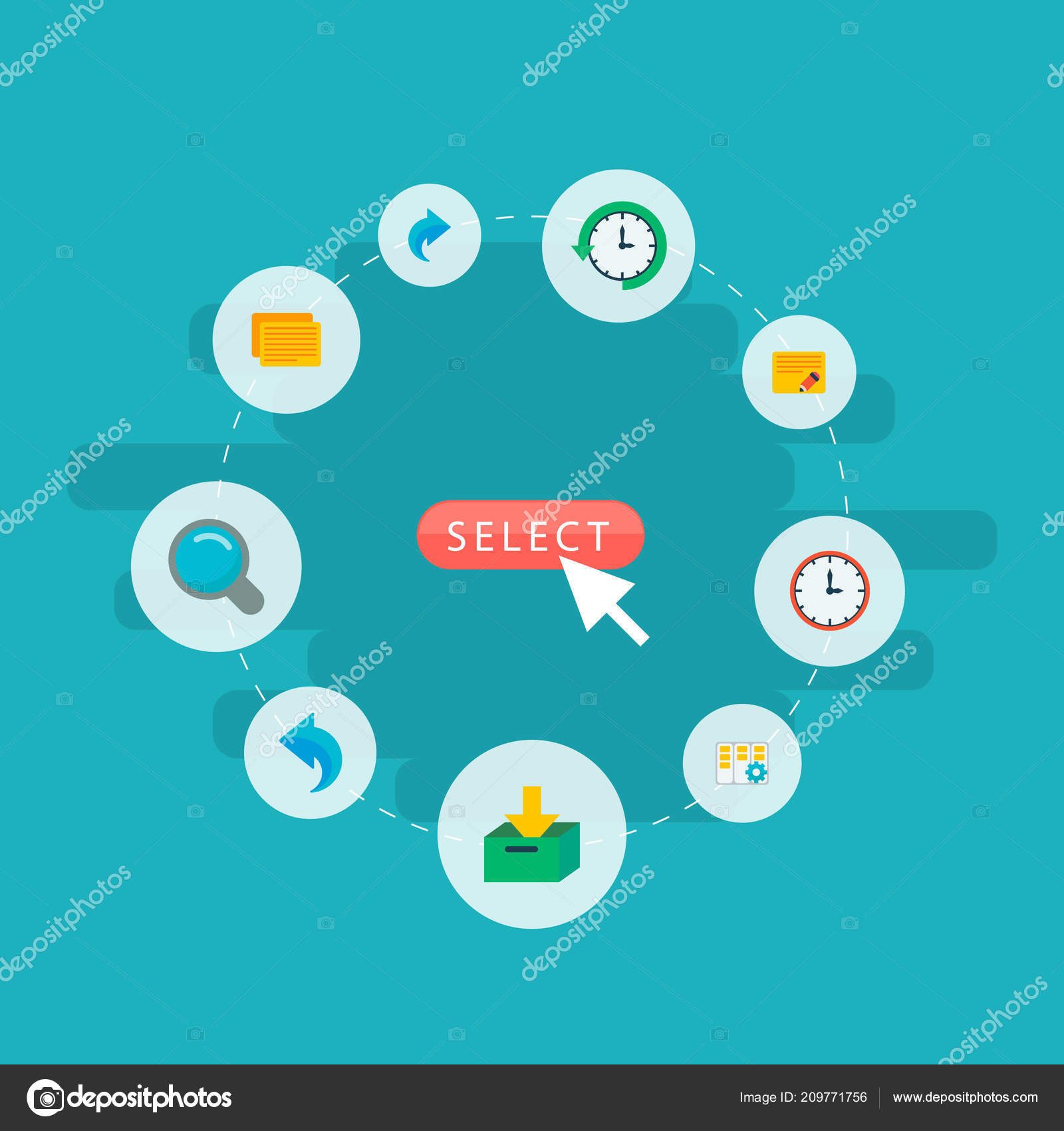 Set Of Task Manager Icons Flat Style Symbols With Log Time Undo