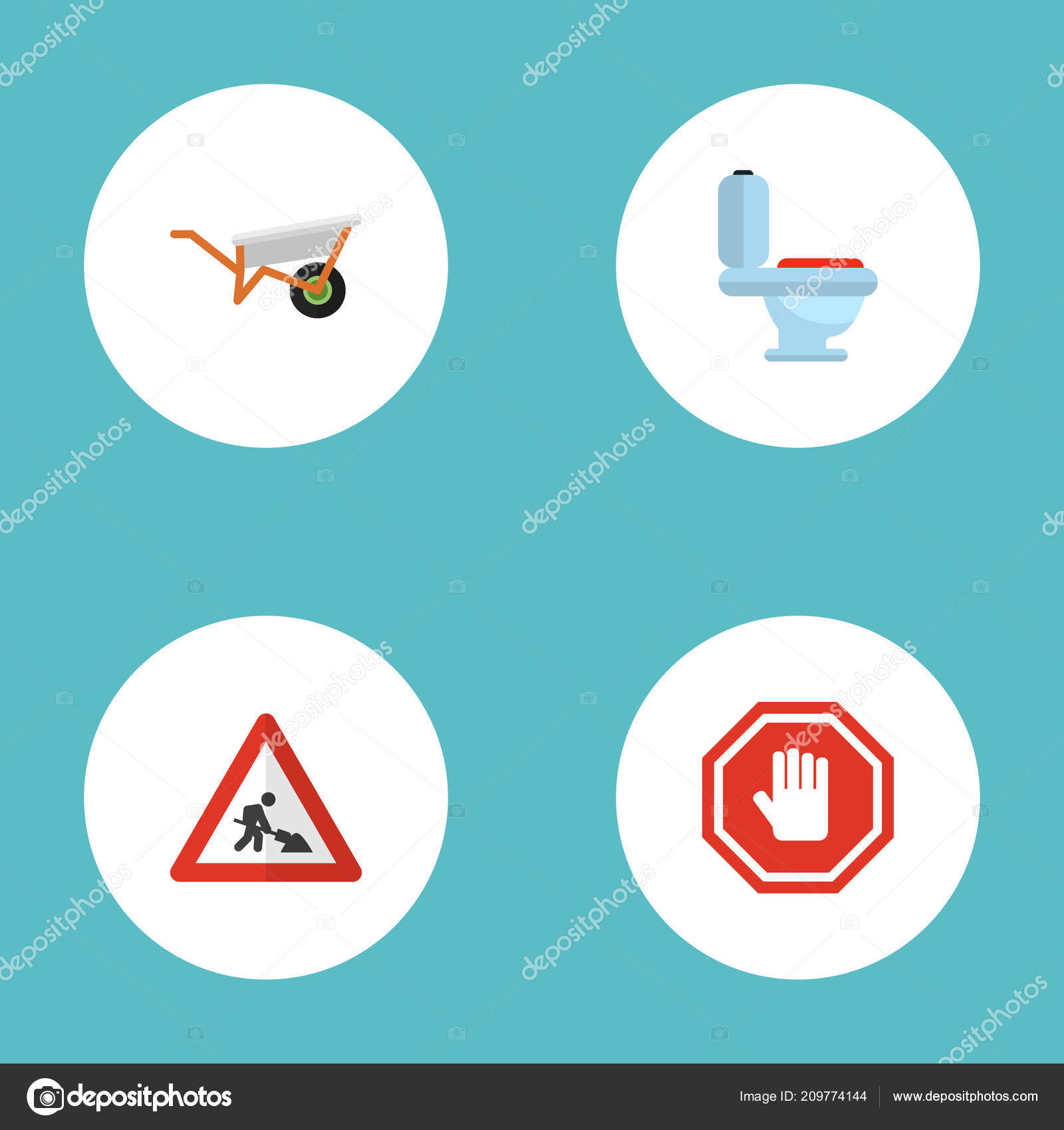 Set Of Construction Icons Flat Style Symbols With Toilet
