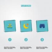 Fotografia Insieme di simboli di stile piano delle icone di bambino con Luna, pantaloncini bambino, piramide e altre icone per il vostro disegno di marchio di web app mobile