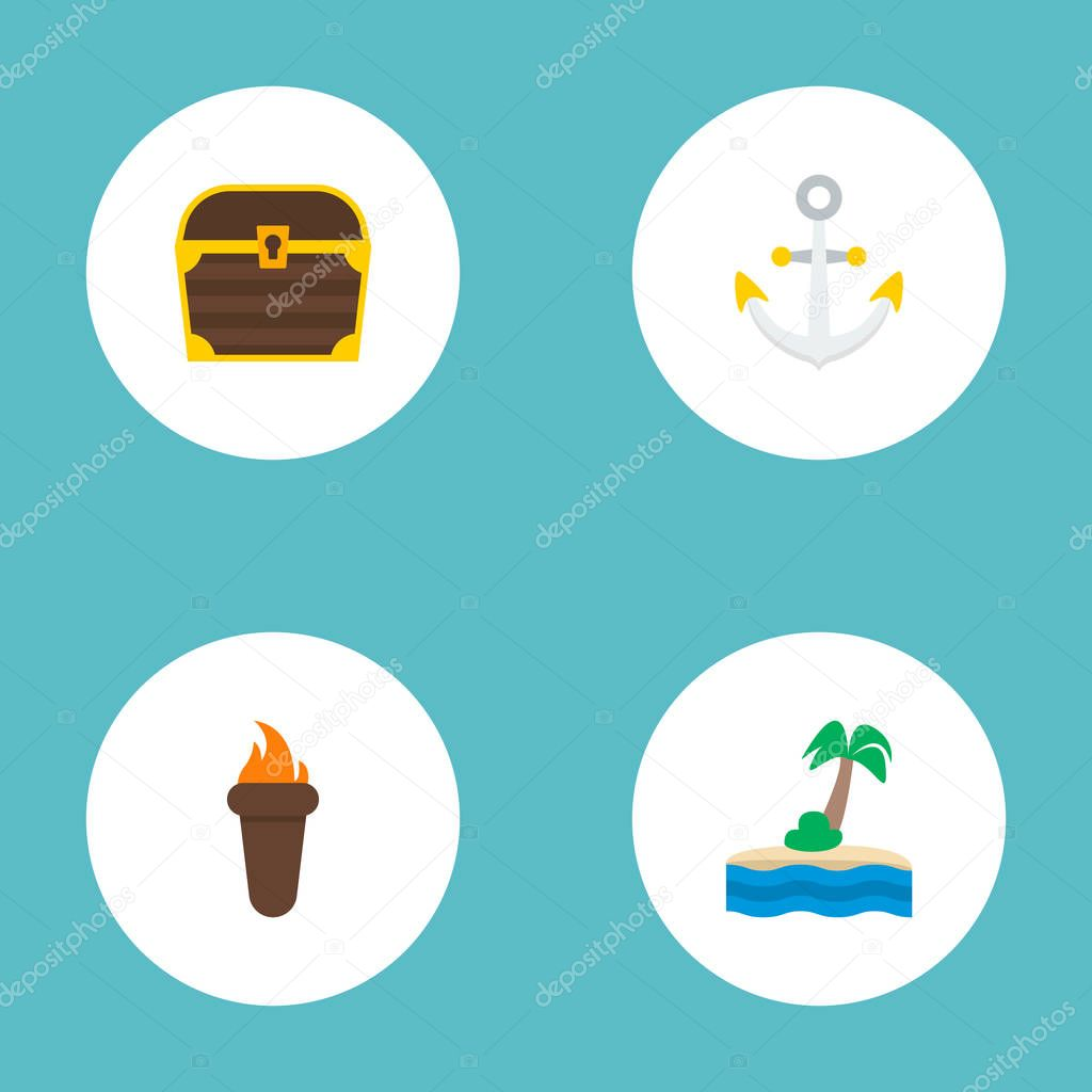 Set of piracy icons flat style symbols with anchor, torch, treasure and other icons for your web mobile app logo design.