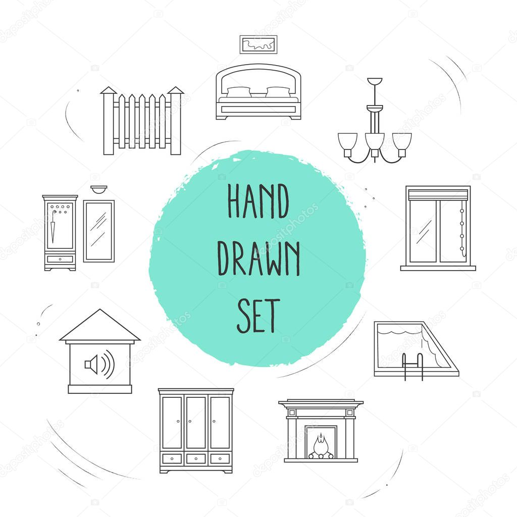 Set of decoration icons line style symbols with hallway, fence, alarm system and other icons for your web mobile app logo design.