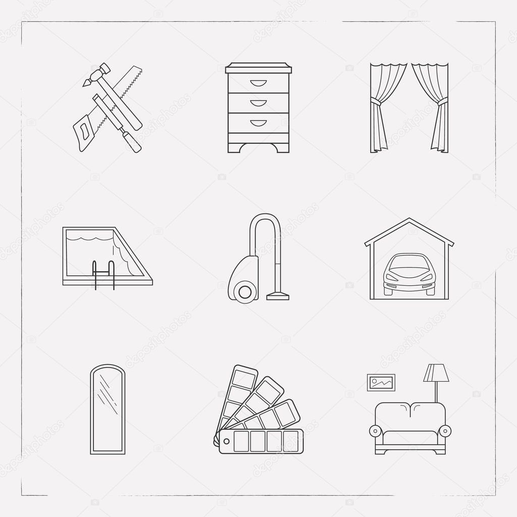 Set of interior icons line style symbols with vacuum cleaner, garage, pool and other icons for your web mobile app logo design.