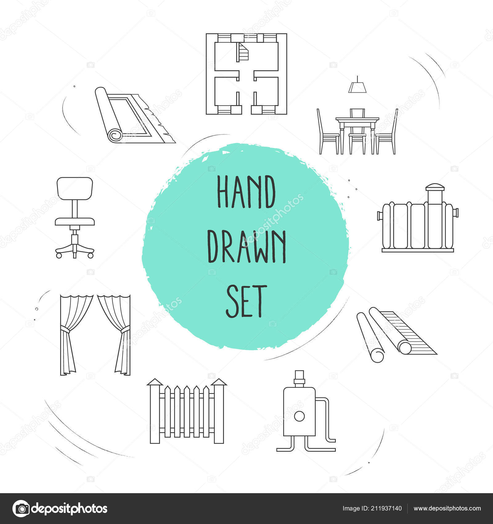 Set of decoration icons line style symbols with dining room ...