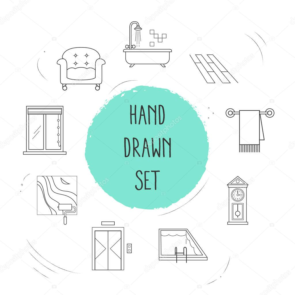 Set of design icons line style symbols with flooring, pool, upholstery and other icons for your web mobile app logo design.