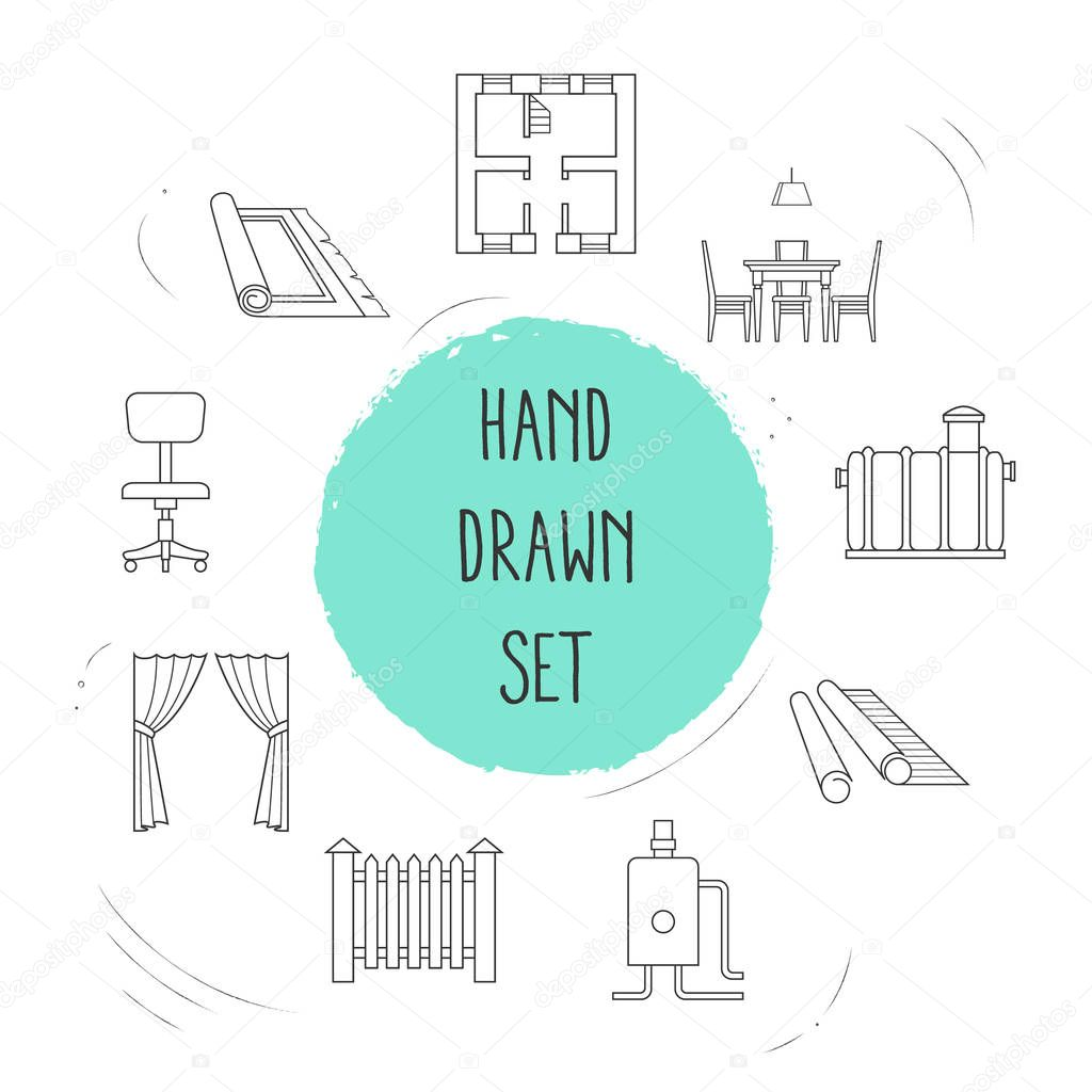 Set of decoration icons line style symbols with dining room, wallpaper, heating system and other icons for your web mobile app logo design.