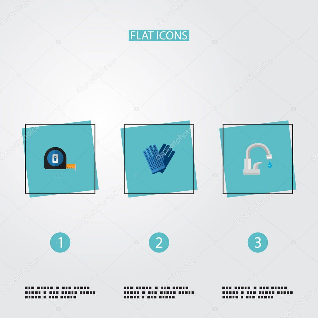 Set of industry icons flat style symbols with water tap, work gloves, tape measure and other icons for your web mobile app logo design.