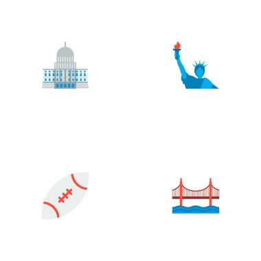 Set of america icons flat style symbols with rugby, capitol, golden gate and other icons for your web mobile app logo design.